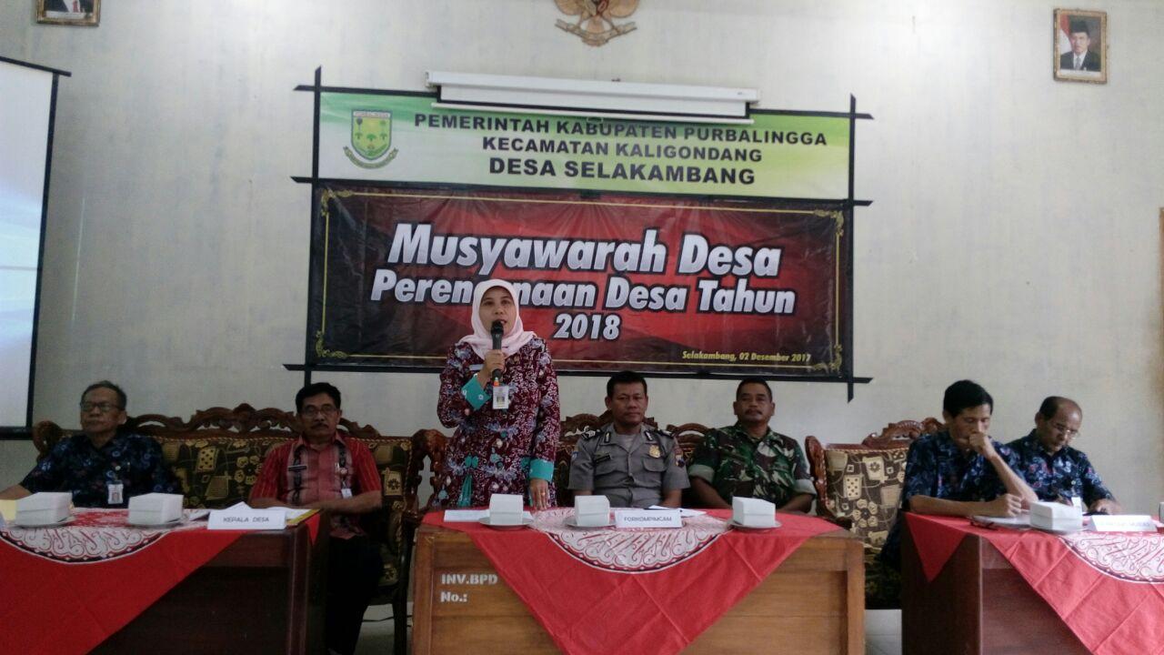 Camat Kaligondang Buka Musdes Perencanaan Desa Selakambang.